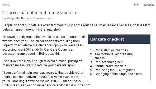 True Cost Of Not Maintaining Your Car
